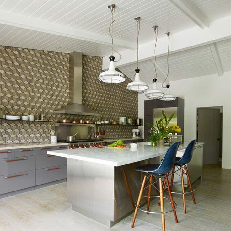 küche insel ideen in edelstahl tisch aus weißem marmor