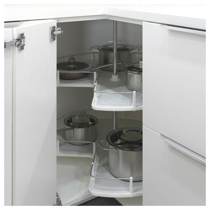 IKEA - UTRUSTA, Karuzela narożnej szafki stojącej, 2 obrotowe półki pozwolą maksymalnie wykorzystać miejsce w rogu i umożliwią dostęp do zawartości szafki.Możesz dostosować szafkę do własnych potrzeb, bo półka jest regulowana.Półka z melaminy z odporną na zarysowania powierzchnią, którą łatwo utrzymać w czystości.Idealna do przechowywania garnków, naczyń i suchej żywności.Bezpłatna gwarancja 25 lat. Warunki gwarancji znajdziesz w broszurze.