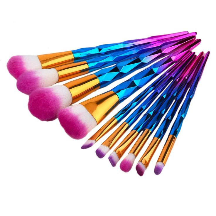 10pcs/lot Multifunctional High Quality Diamond Makeup Brushes Set Kits Spiral Handle Make up Brush Tools Foundation Brush