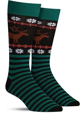 Christmas Reindeer Non Skid Socks | Mens