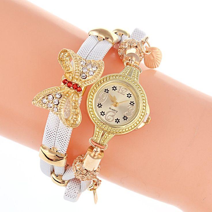 Кварцевые часы с декором бантик