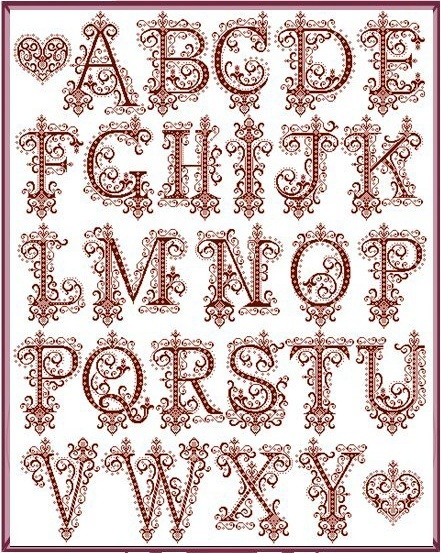 A Mon Ami Pierre - Imperial Alphabet cross stitch. Great for monograms!