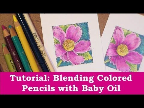colored pencil baby oil blending tutorial - YouTube