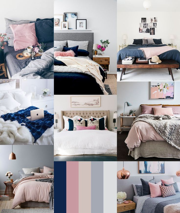 Bedding: indigo, denim, navy, slate blue, gray, blush, brown
