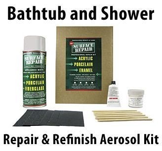 Bath Tub & Shower Acrylic Fiberglass Porcelain Aerosol Spray Repair Kit