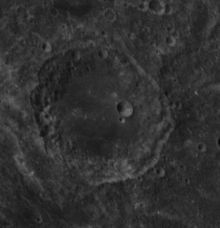 Lunar crater Al-Biruni, on the far side of the Moon, as seen by Apollo 14