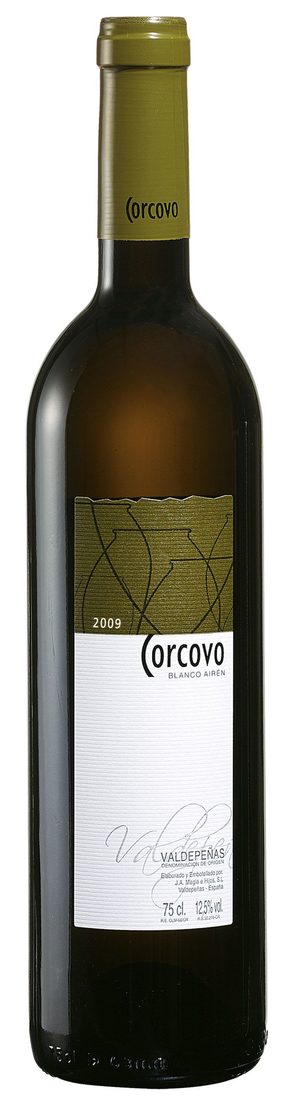 """Corcovo Airén, de Bodegas J.A. Megía e Hijos, recién premiado con el galardón """"Selección Oro"""" que otorga la Consejería de Agricultura de Castilla-La Mancha a los mejores vinos de la región."""
