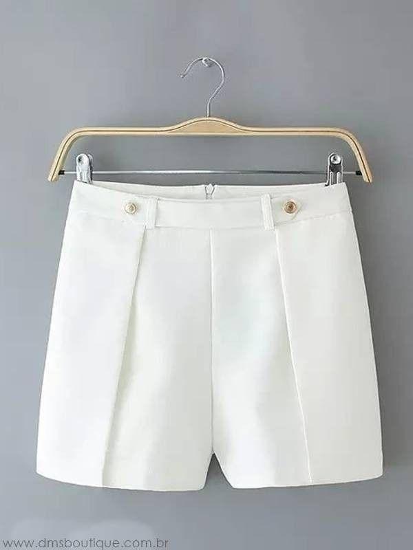 Short Feminino Alfaiataria branco 2