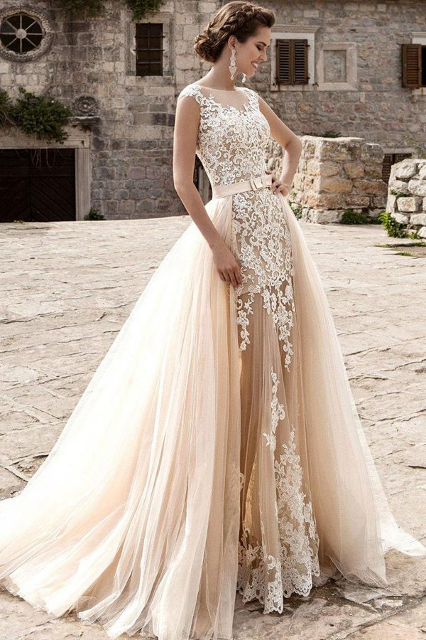 a89b9fb65b Glamorous Tulle Jewel Neckline See-through 2 in 1 Wedding Dress With Lace  Appliques & Bowknot