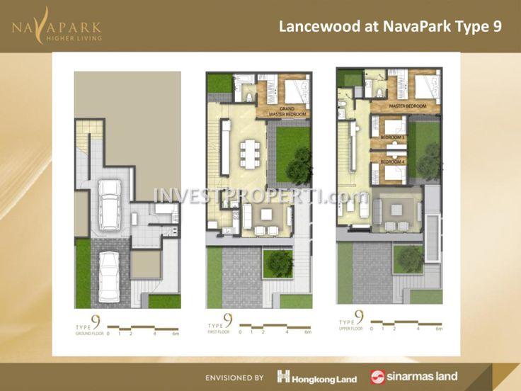 Denah lantai tipe 9 cluster Lancewood NavaPark BSD #sinarmasland #hongkongland #navaparkbsd