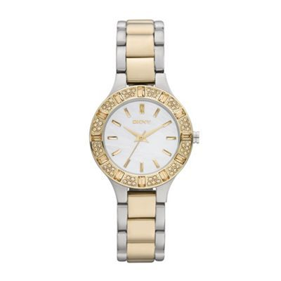 DKNY Ladies silver and gold mixed plated diamante bezel watch- at Debenhams.ie