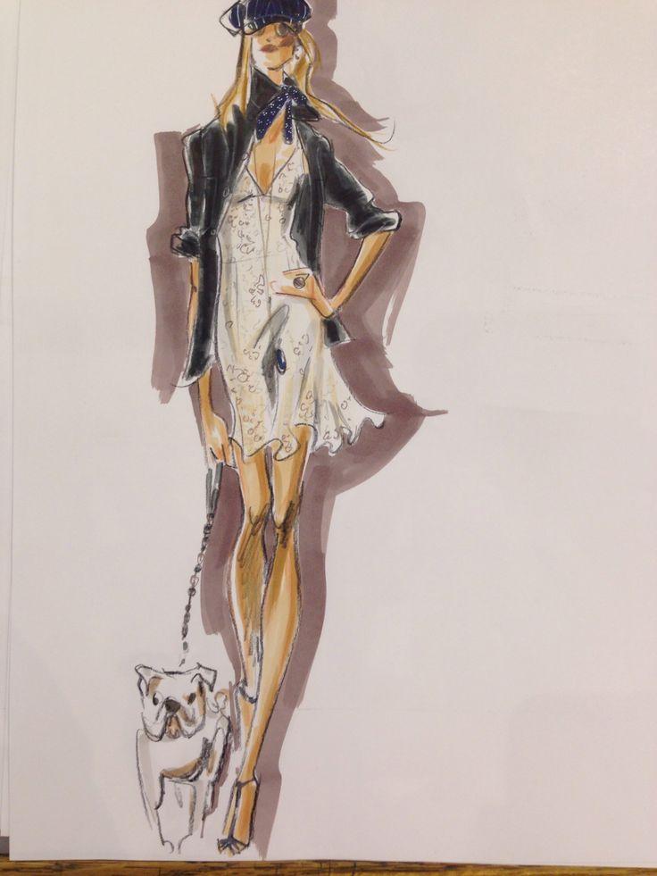 Дама с собачкой Fashion illustration by Maria Persik