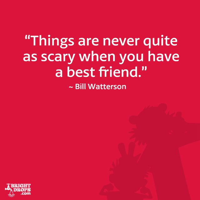 """Things are never quite as scary when you have a best friend."" ~ Bill Watterson 