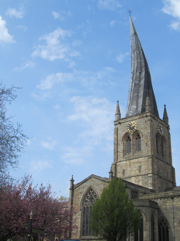 The crooked spire on parish church, Chesterfield, Derbyshire