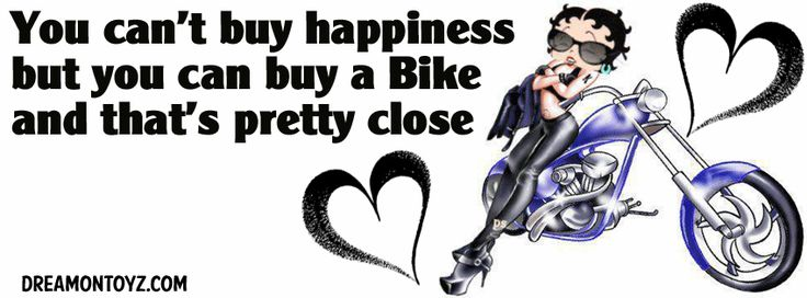 You can't buy happiness but you can buy a Bike and that's pretty close MORE Betty Boop Banners & Covers  http://bettyboopcovers.blogspot.com/ And on Facebook  https://www.facebook.com/bettyboopcovers/  Biker Betty Boop with hearts, leaning on her purple motorcycle - The BB I used for this was created by PS #Quotes #Sayings #Greeting #FacebookTimelineCover