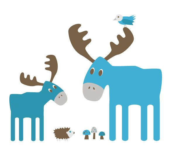 Moose Illustration for Muko, to be used as pattern and print on clothes