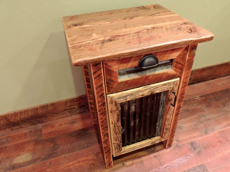 barn wood cabinet nightstand with tin inset and bronze pulls thin top