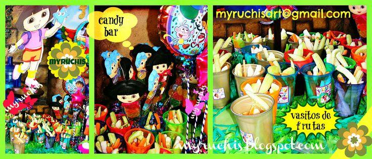 candy bar, mesa dulces, mesa dulces y postres, fiesta infantil, fiesta Dora sweetmyruchis.blogspot.com