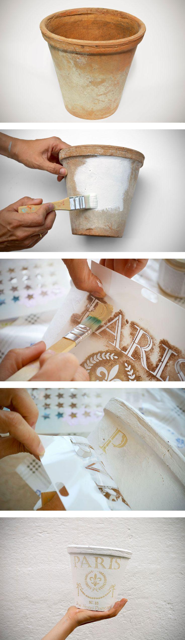 DIY - Maceta de barro reciclada con chalk paint y stencil.