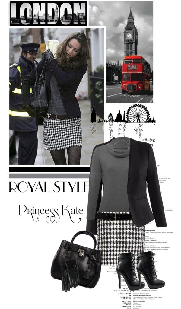 "houndstooth skirt, grey top, print tights and black jacket ""royal style"" by luda123 on Polyvore"