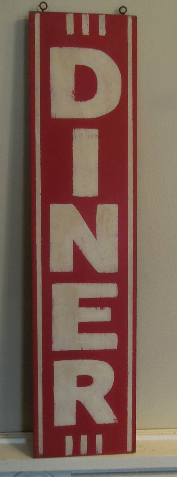Retro DINER hand painted vertical sign by NineArrowDesigns on Etsy