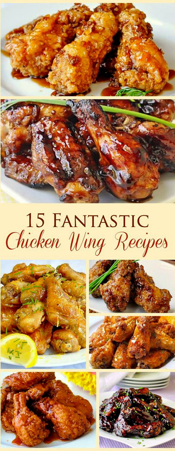15 Fantastic Chicken Wing Recipes - baked, grilled or fried! From classic Honey Garlic to Blueberry Barbecue or Baked Kung Paoa,