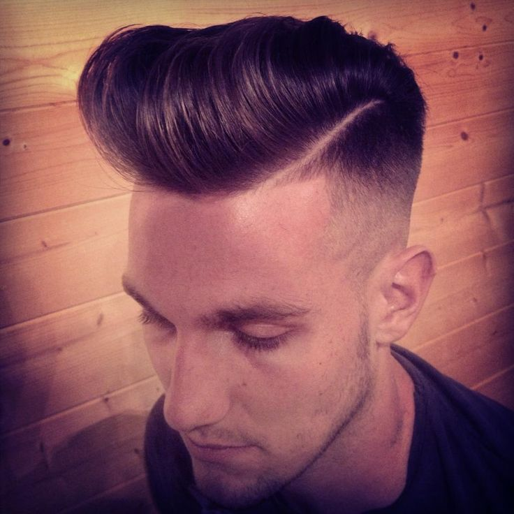 Pompadour with High Side Fade. Men's Hair.