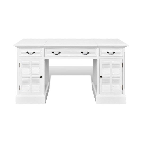 white White Double-pedestal Desk with Cupboards and Drawers -... ($366) ❤ liked on Polyvore featuring home, furniture, desks, double pedestal desk, white furniture, white home office desk, white desk and white double pedestal desk