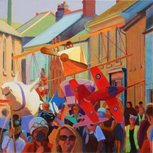 Mad aviators at Lafrowda 2016 Tom Henderson Smith 100 x 100 cms acrylic on stretched canvas, for sale to benefit the brilliant community event of Lafrowda Festival in Cornwall's most westerly town of St Just-in-Penwith.
