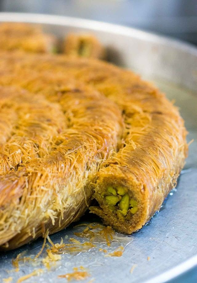 Kataifi, a Middle Eastern pastry of thread-like dough encasing crisp pistachios
