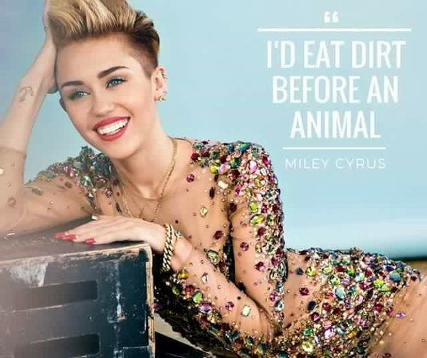 I'd eat dirt before an animal ~ courtesy Miley Cyrus #vegan Yeah, but you Miley have no problems wearing fur that comes from tortured animals.