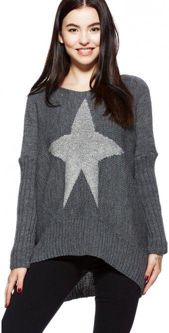 LikeLondon grå stickad oversize tröja med glittrig stjärna