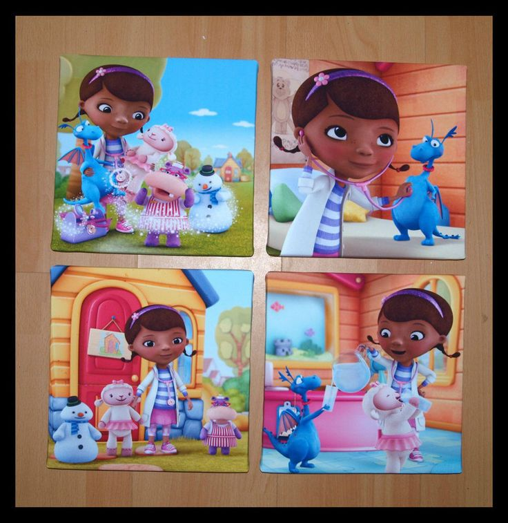 Doc McStuffins Set of 4 Canvas Pictures Prints Bedroom Art Girls 10x10""