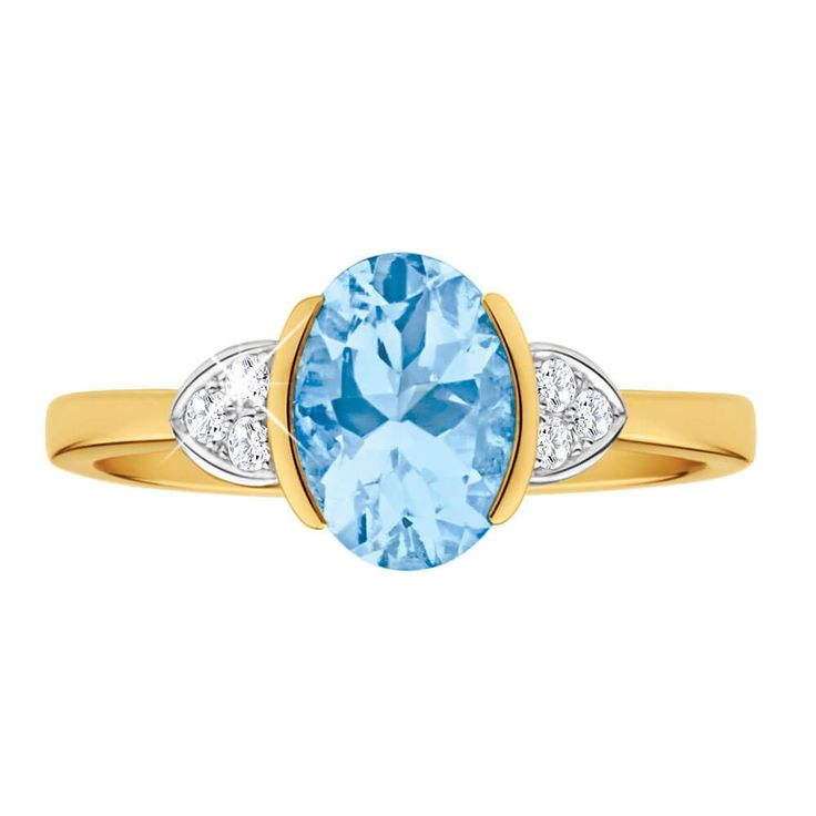 Pretty in blue, Aquamarine and Diamond Ring in 9ct Yellow Gold