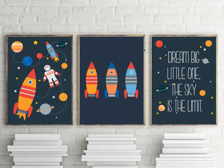Planets, stars, astronaut and rocket quote print for boys room decor or nursery room decor INSTANT DOWNLOAD by TheLittleTractorBoy on Etsy