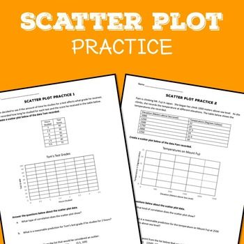 2 practice sheets on scatter plots. These can be used as bell ringers, exit tickets, or just general practice.Common Core Standards:CCSS.Math.Content.8.SP.A.1Construct and interpret scatter plots for bivariate measurement data to investigate patterns of association between two quantities.
