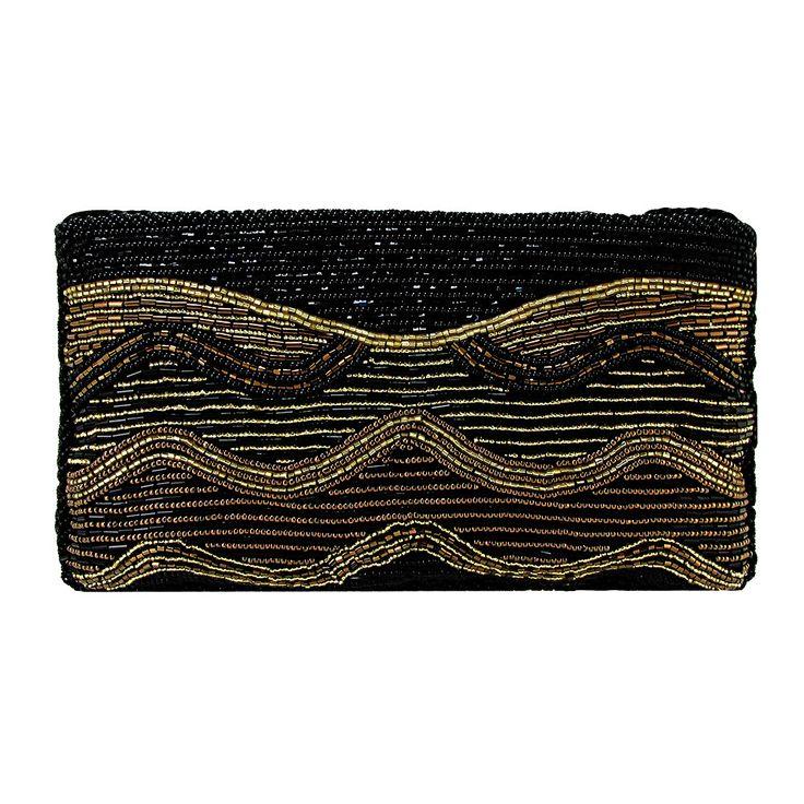 On The Fringe Art-Deco Beaded Evening Clutch Handbag IKI-21