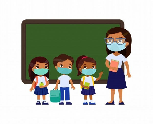 Indian Teacher And Pupils With Protective Masks On Their Faces in 2020 Happy children s day Drawing for kids Cute little boys