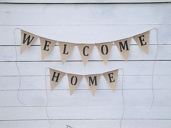 Welcome Home burlap banner  home decor by MirtilloShop on Etsy, $26.00
