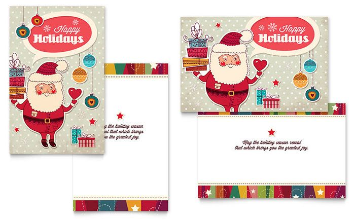 Retro Santa Greeting Card Design Template by StockLayouts