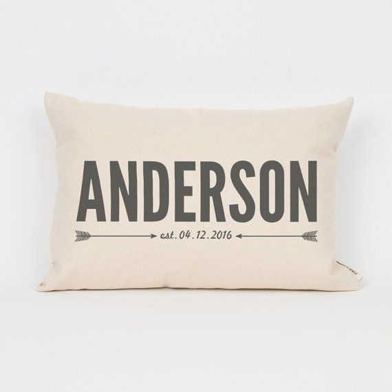 Name & Date Custom Pillow Personalized Pillow by FinchandCotter