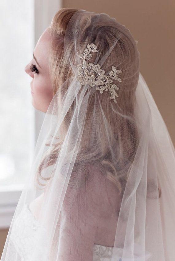 Gold Lace Juliet Bridal Cap Wedding Veil Alencon by veiledbeauty