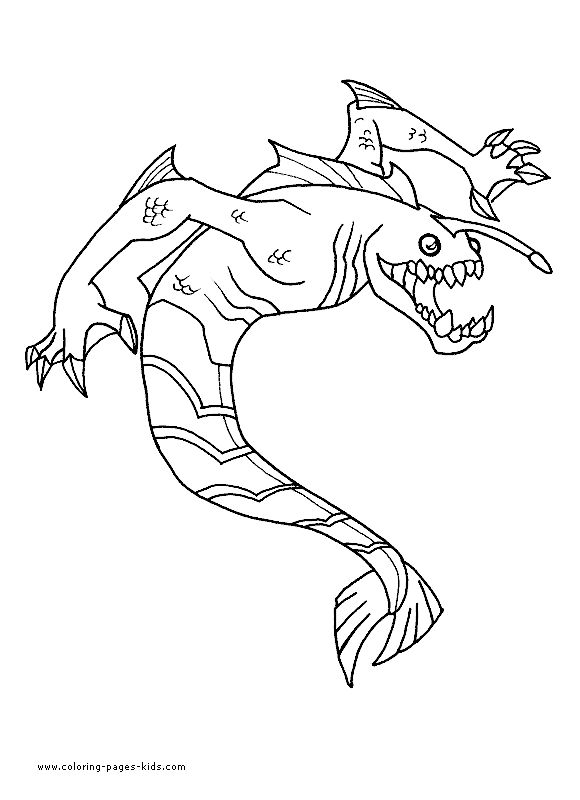 a great coloring page of the ben 10 alien ripjaws he has changed his legs to a tail so he can swim really fast