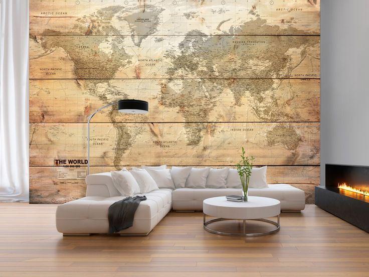 Papier peint avec carte du monde accompagné de planches en bois rendra chaque intérieur chaleureux #papierpeint #papierspeints #cartedumonde #planches #bois #eco #brun #bimago