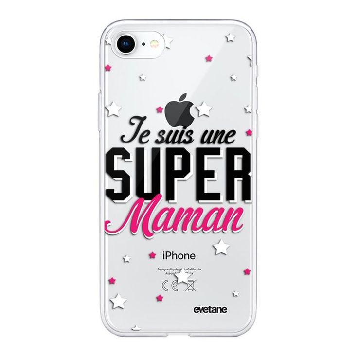 Coque 360 Iphone 7 Iphone 8 360 Intégrale Transparente Super Maman Ecriture Ten…