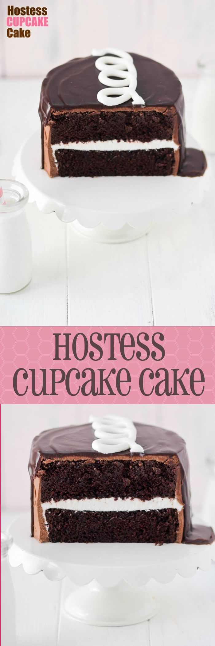 HOSTESS CUPCAKE CAKE!! My favorite snack has been turned into a cake! Love the adorable swirl on top.
