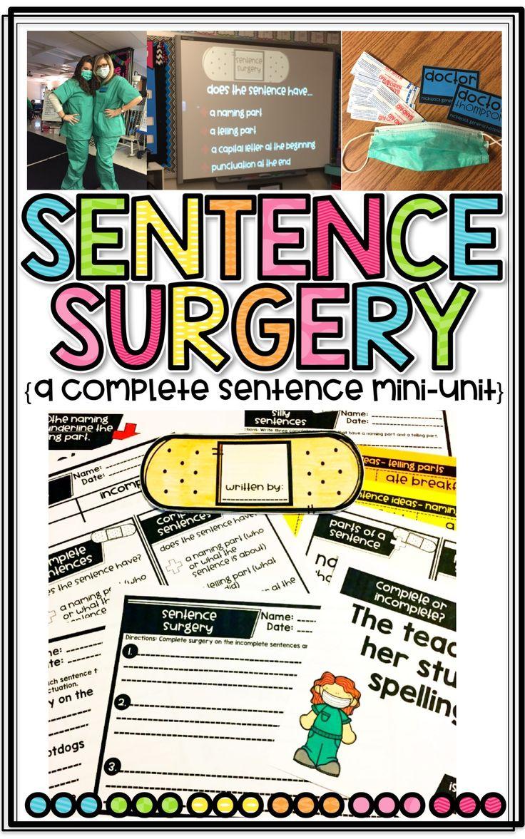 Sentence Surgery: A Complete Sentence Mini-Unit to teach writing complete sentences