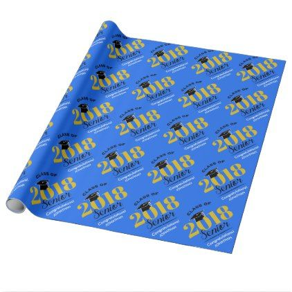 Class of 2018   Blue & Gold Wrapping Paper - calligraphy gifts custom personalize diy create your own
