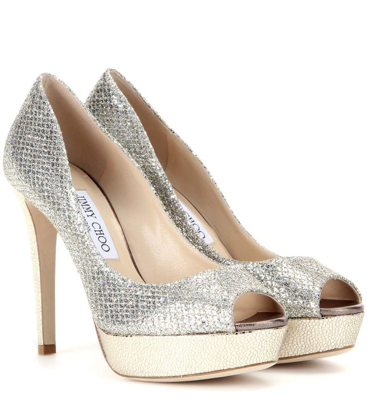 Shop Dahlia glitter peep-toe pumps presented at one of the world's leading  online stores for luxury fashion.