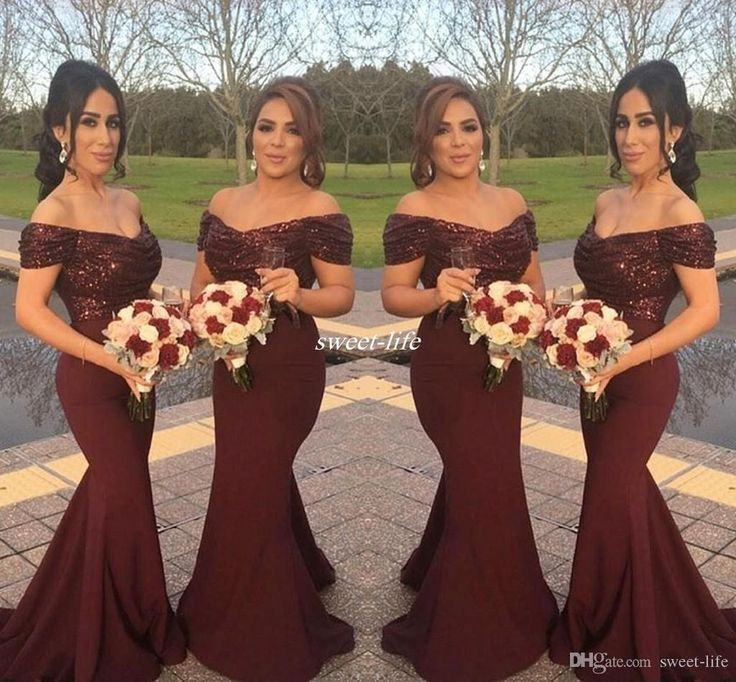Burgundy Sparkly Sequins Off Shoulder Long Bridesmaid Dresses With Short Sleeve Mermaid 2016 Arabic Formal Wedding Guest Gowns Evening Dress